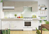 Kuchyňská linka 240 cm dub picard a bílý lesk KN411