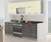 Kuchyňská linka 240 cm šedý a krémový lesk  KN414
