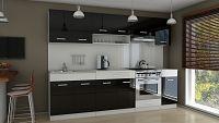 Kuchyňská linka 260 cm v kombinaci černý a bílý lesk F3014