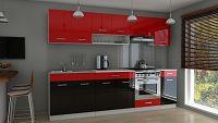 Kuchyňská linka 260 cm v kombinaci červený a černý lesk F3014