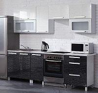 Kuchyňská linka MERLIN 240 cm černá/bílá lesk