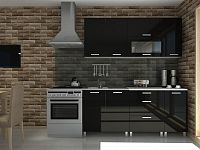 Kuchyňská linka v černém lesku s úchytkami MDR F1295