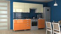 Kuchyňská linka v kombinaci barev vanilka a oranžový lesk s typem úchytek KRF 240 cm F1358