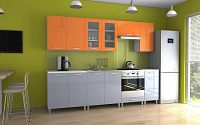 Kuchyňská linka v kombinaci oranžového a šedého lesku s úchytkami RLG 260 cm F1335