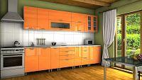 Kuchyňská linka v oranžovém lesku s úchytkami KRF 300 cm F1334