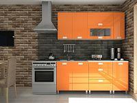 Kuchyňská linka v oranžovém lesku s úchytkami MDR F1295