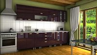 Kuchyňská linka ve fialovém lesku s úchytkami MDR 300 cm F1334