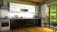Kuchyňská linka ve kombinaci černého a bílého lesku s úchytkami MDR 300 cm F1334