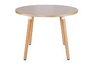 Kulatý jídelní stůl 100 cm v dekoru buk na dřevěné podnoži DO120