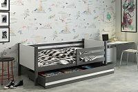 Kvalitní dětská postel v kombinaci bílé a grafit barvy 80x190 cm F1422