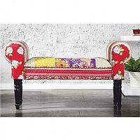 Lavice ve stylovém rustikálním designu v trendy červené látkovém provedení wenge CHARADE