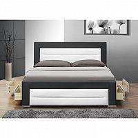 Manželská postel, s roštem, černá+bílá, 160x200, NAZUKA