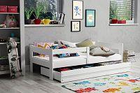 Moderní dětská postel s úložným prostorem a matrací v bílé barvě 80x160 cm F1378