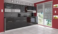 Moderní kuchyňská linka 260 cm černý lesk F1005