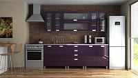 Moderní kuchyňská linka v fialovém lesku s úchytkami 220 cm RLG F1333
