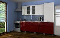 Moderní kuchyňská linka v kombinaci bílého a červeného lesku s typem úchytek KRF 240 cm F1361
