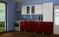 Moderní kuchyňská linka v kombinaci bílého a červeného lesku s typem úchytek MDR 240 cm F1361