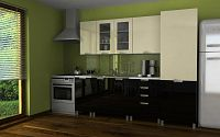 Moderní kuchyňská linka v kombinaci vanilka a černý lesk s typem úchytek RLG 240 cm F1361