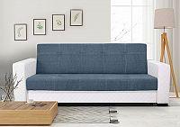 Moderní pohovka v kombinaci modré látky a bílé ekokůže F1224