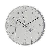 Nástěnné hodiny 31 cm v bílé barvě s motivem odkvetlých pampelišek DO294
