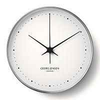 Nástěnné hodiny HK, nerez/bílá, 30 cm