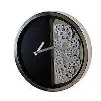 Nástěnné hodiny nerezové Cogs, 39 cm, černá