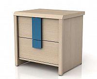 Noční stolek CAPS KOM2S dub světlý belluno/modrá lišta