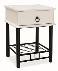 Noční stolek se zásuvkou v bílé barvě na černé kovové konstrukci KN789