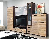 Obývací stěna v moderní kombinaci wenge a jilm s LED osvětlením bez nádstavce KN248