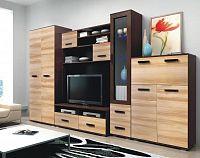 Obývací stěna v moderní kombinaci wenge a jilm s LED osvětlením KN248