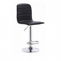 Otočná barová židle čalouněná ekokůže černá a bílá podnož chromovaná TK3184