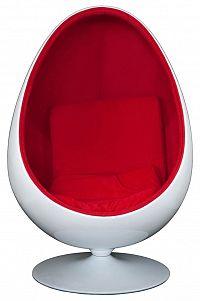 Otočné křeslo ve tvaru bílého oválu s čalouněním v červené barvě DO025