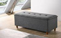 Pohodlná lavice s čalouněním v šedé látce s úložným prostorem KN1131