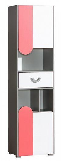 Policová skříň 50 cm s bílými dvířky s možností výběru barvy a korpusem v barvě grafit typ F3 KN742