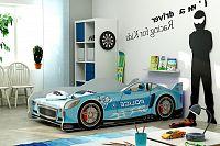 Postel 80x160 cm ve stylu závodního auta v modré barvě F1285