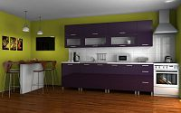 Praktická kuchyňská linka v fialovém lesku s úchytkami KRF F1328