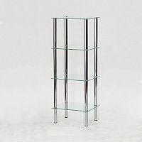 Regál moderní chrom čiré sklo FREDDY 3