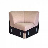 Rohová část, sedačka světle hnědé barvy s čokoládovou ekokůží ROSANA