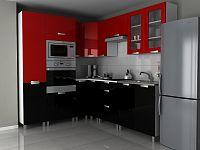 Rohová kuchyňská linka 230x190 cm v kombinaci černý a červený lesk s úchytkami RLG F1330