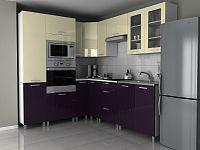 Rohová kuchyňská linka 230x190 cm v kombinaci fialová a vanilka lesk s úchytkami RLG F1330