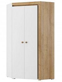 Rohová šatní skříň 95 cm v matné bílé barvě s korpusem dub riviera s LED osvětlením typ 11 KN1234