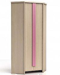 Rohová šatní skříň CAPS SZFN2D dub světlý belluno/růžová lišta