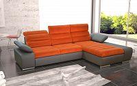 Rozkládací rohová sedačka v oranžové a šedé barvě s úložným prostorem typ pravá KN1178