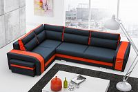 Rozkládací sedací souprava s taburety v kombinaci černé a oranžové barvy levá F1256