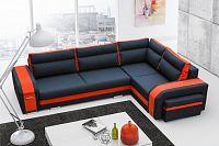 Rozkládací sedací souprava s taburety v kombinaci černé a oranžové barvy pravá F1256