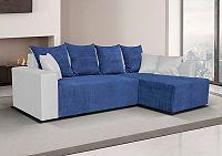 Rozkládací sedací souprava v kombinaci modré látky a bílé ekokůže pravá F1237