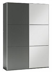 Šatní skříň 122 cm s posuvnými dveřmi v barvě grafit se zrcadlem a korpusem grafit KN1106