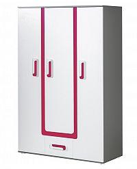 Šatní skříň 128 cm v bílé matné barvě s růžovým doplňkem a se šedým korpusem a zásuvkou KN1046