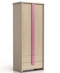Šatní skříň CAPS SZF2D2S dub světlý belluno/růžová lišta