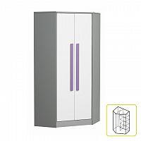 Šatní skříň s tyčí a policemi rohová fialové úchytky PIERE P02